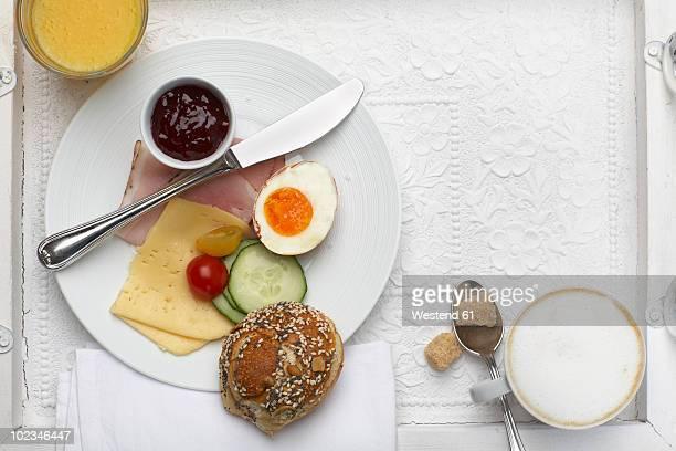 Breakfast in tray, overhead view