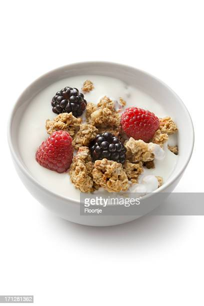 Breakfast Ingredients: Cereals and Berryfruit Isolated on White Background