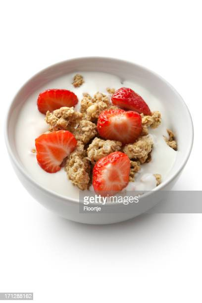 Breakfast Ingredients: Cereals and Strawberries Isolated on White Background