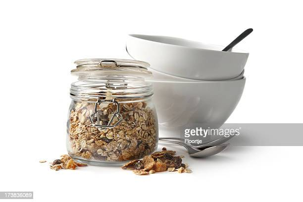 Breakfast Ingredients: Granola Isolated on White Background