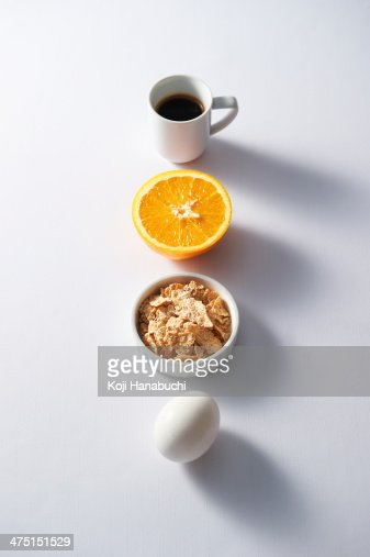 Breakfast items in row
