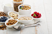 Breakfast items on the table granola and oats