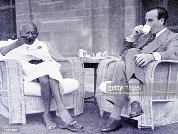 Breakfast meeting between Mahatma Gandhi and Viceroy of India Lord Mountbatten 1947