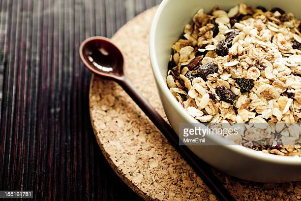 Breakfast muesli with corkscrew coaster