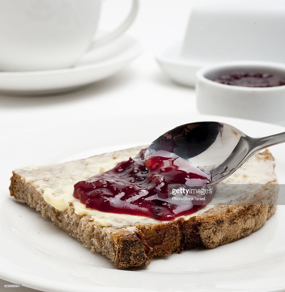 Breakfast of Jam and bread