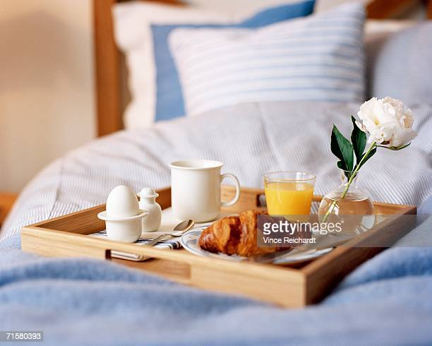 Breakfast on a bed.