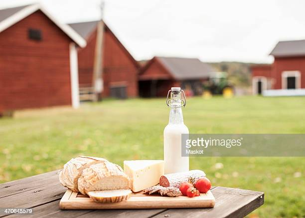 Breakfast on table at farm