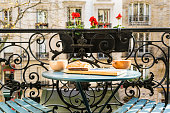 Breakfast on the balcony in Paris in springtime