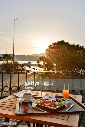 Breakfast on the balcony with sunshine : Stock Photo