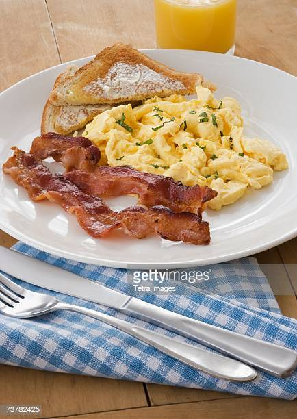 Breakfast plate with eggs and bacon