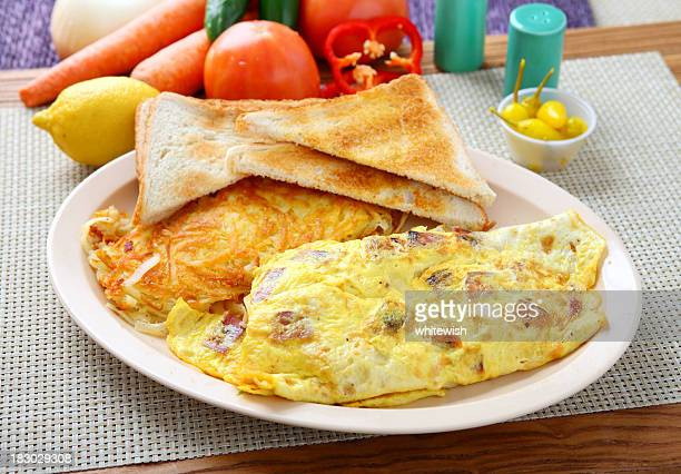 Breakfast platter with omelette, toast and hash browns