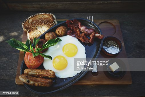 Breakfast platter with toast eggs and meat