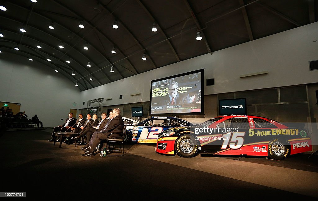 A breakfast roundtable discussion takes place in front of the #15 5-hour Energy Toyota driven by Clint Bowyer (not pictured) on February 5, 2013 at the College for Creative Studies in Detroit, Michigan.