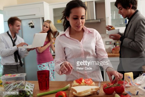 breakfast scene in shared house : Stock Photo