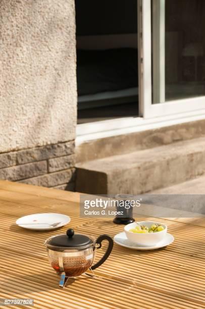 Breakfast server on garden deck