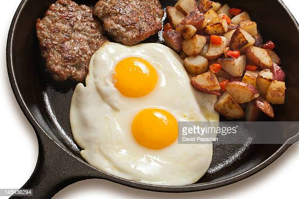 Breakfast skillet with egg, sausage and potatoes