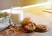 Breakfast with glass of soy milk and cookies. Food and healthy concept.