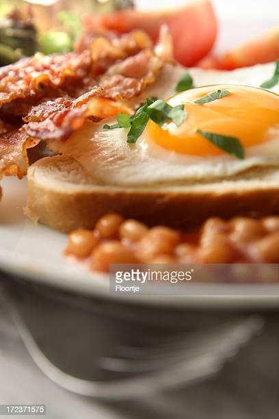 Frühstück Fotos: Spiegelei, Bohnen, Speck
