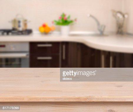 Kitchen Table Top Background breakfast table on kitchen interior background stock photo