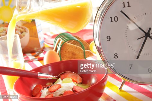 Breakfast Table With Large Clock : ストックフォト