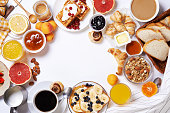 breakfast with toasts, fruits, jam, coffee amd buns. top view. place for text