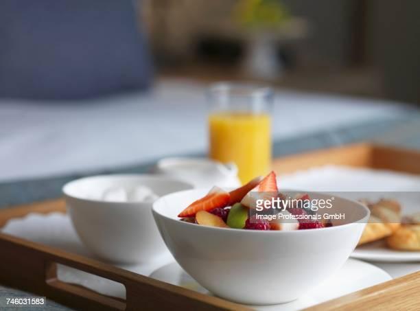 A breakfast tray in a hotel room