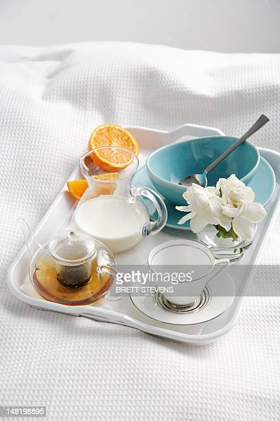 Breakfast tray on bed