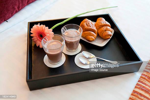 Breakfast tray with coffee and criossants