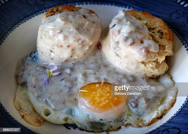 A breakfast treat freshly baked biscuits and gravy over a poached egg at Sqirl Cafe in Silverlake April 20 2013 Feature is about Southern cuisine...
