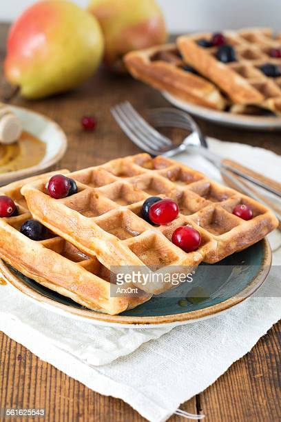 Breakfast: waffles, berries and fruits