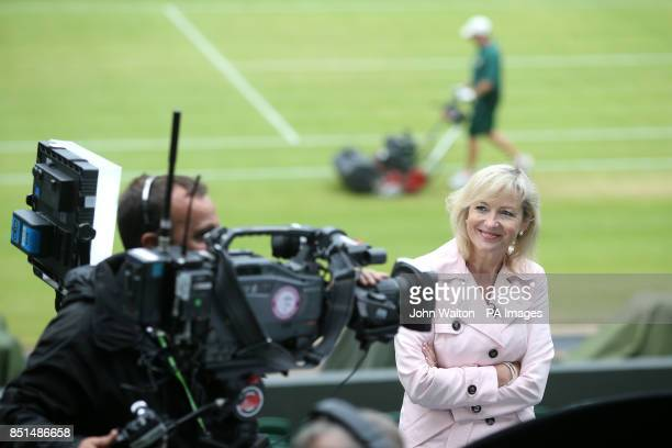 BBC Breakfast weather reporter Carol Kirkwood on centre court prior to doing her piece to camera during day nine of the Wimbledon Championships at...