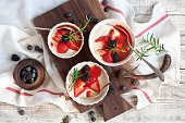 Breakfast with cottage cheese and berries