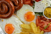 Breakfast, Egg, Sausage, Bacon, Fries