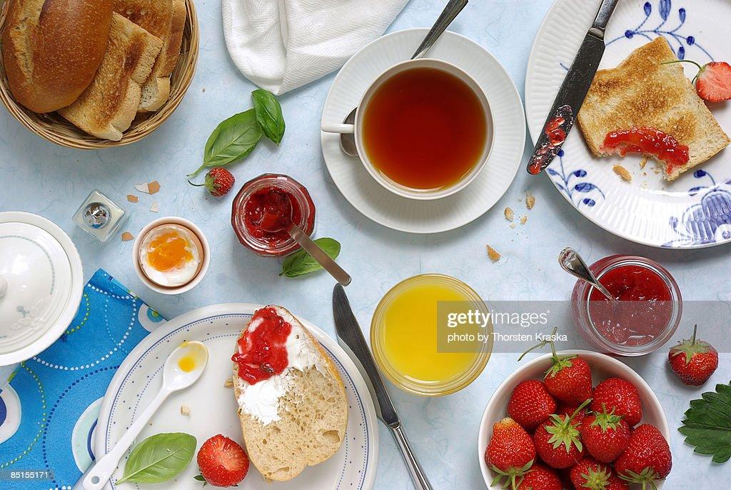 Breakfast with strawberry jams