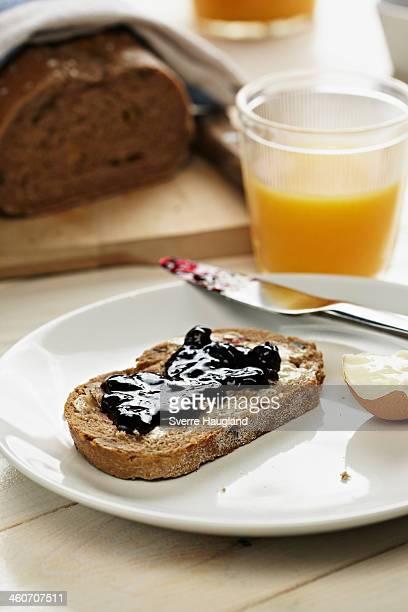 Breakfast with toast and jam and orange juice