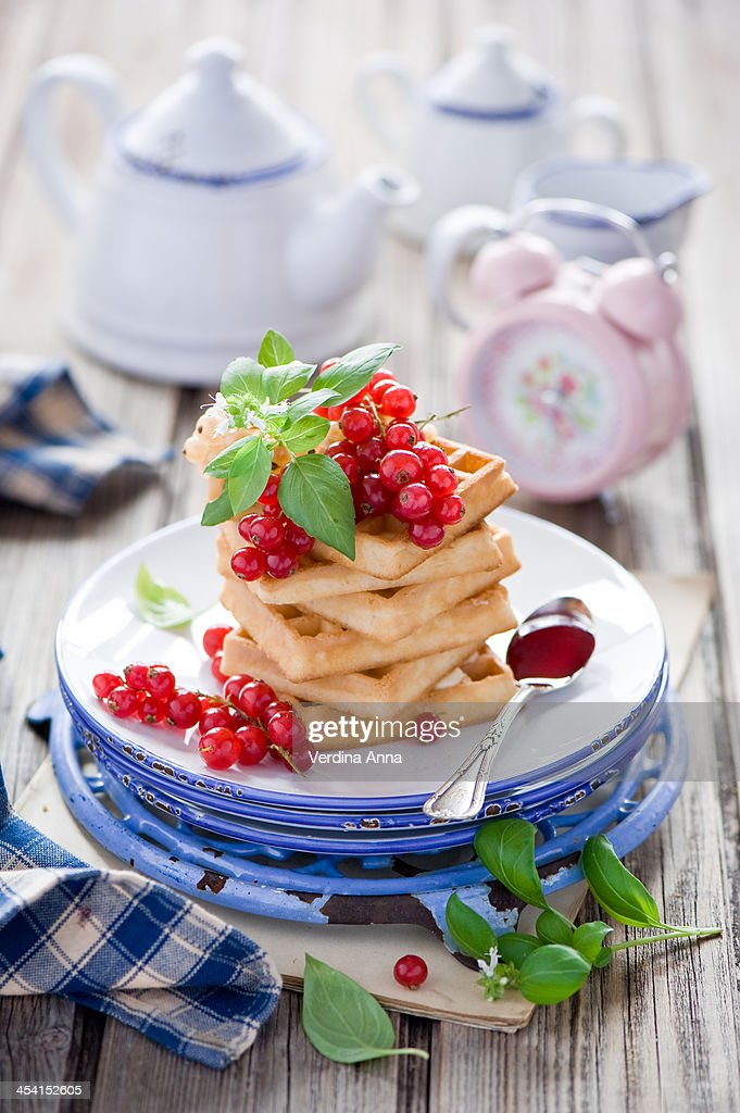 Breakfast with waffles and jam : Stock Photo