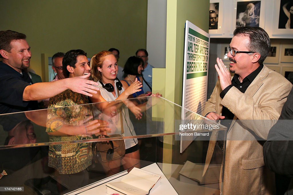 Breaking Bad creator Vince Gilligan (R) attends Making Bad: An Evening with Vince Gilligan at Museum of Moving Image on July 28, 2013 in New York City.
