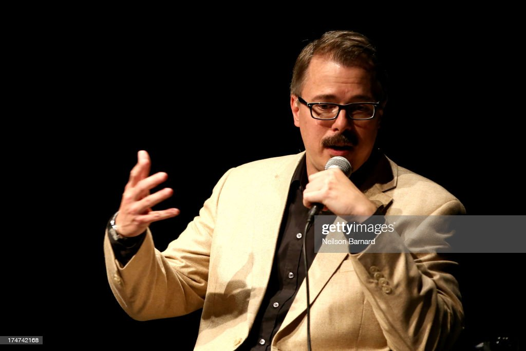 'Breaking Bad' creator <a gi-track='captionPersonalityLinkClicked' href=/galleries/search?phrase=Vince+Gilligan&family=editorial&specificpeople=4360133 ng-click='$event.stopPropagation()'>Vince Gilligan</a> onstage during Making Bad: An Evening with <a gi-track='captionPersonalityLinkClicked' href=/galleries/search?phrase=Vince+Gilligan&family=editorial&specificpeople=4360133 ng-click='$event.stopPropagation()'>Vince Gilligan</a> at Museum of Moving Image on July 28, 2013 in New York City.