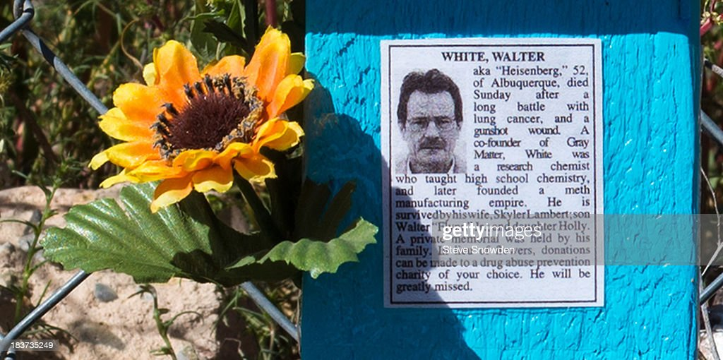 Breaking Bad fans have erected a descanso or roadside memorial outside an abandoned wood mill in Albuquerque, New Mexico. The old mill served as the Nazi headquarters where Walter White met his end in the Season 5 series finale.