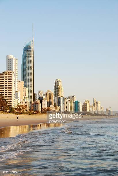 Breaking Dawn Surfers Paradise coastline, Queensland, Australia