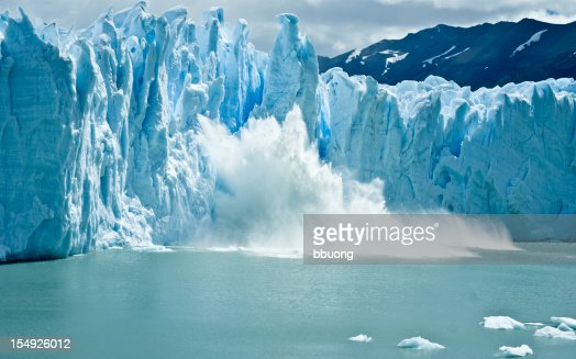breaking ice formations falling from Perito Moreno Glacier
