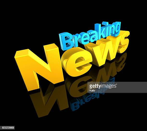 Breaking News text on black background.