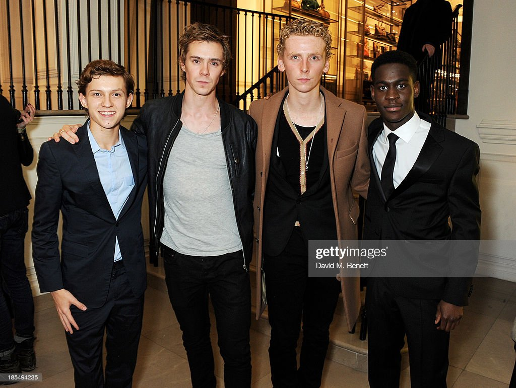 Breakthrough Brit Tom Holland, Sam Keeley, Edward Ashley and Breatkthrough Brit Ade Oyefeso attend the BAFTA 'Breakthrough Brits' event at Burberry 121 Regent Street, London on October 21, 2013 in London, United Kingdom.