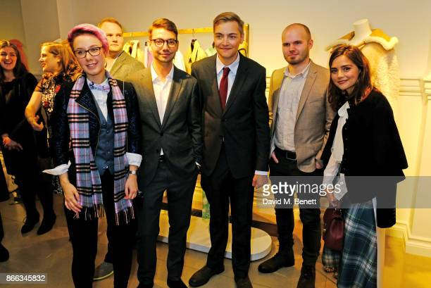 Breakthrough Brits Anna Hollinrake Henry Hoffman Daniel Fountain and Adam Vian pose with Jenna Coleman at the Burberry BAFTA Breakthrough Brits 2017...