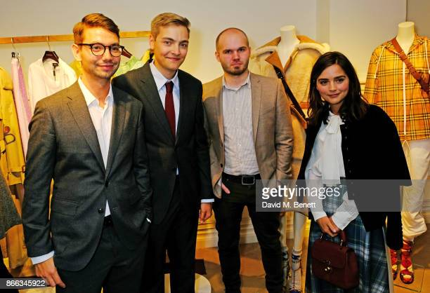 Breakthrough Brits Henry Hoffman Daniel Fountain and Adam Vian pose with Jenna Coleman at the Burberry BAFTA Breakthrough Brits 2017 at the global...