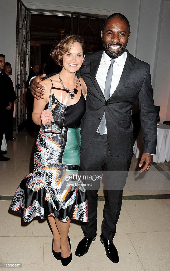 Breakthrough of the Year winner Ruth Wilson (L) and Idris Elba pose at the Harper's Bazaar Women of the Year Awards 2012, in association with Estee Lauder, Harrods and Tiffany & Co., at Claridge's Hotel on October 31, 2012 in London, England.