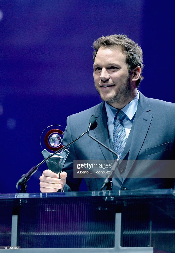 Breakthrough Performer of the Year award winner <a gi-track='captionPersonalityLinkClicked' href=/galleries/search?phrase=Chris+Pratt+-+Actor&family=editorial&specificpeople=239084 ng-click='$event.stopPropagation()'>Chris Pratt</a> speaks onstage at The CinemaCon Big Screen Achievement Awards brought to you by The Coca-Cola Company during CinemaCon, the official convention of the National Association of Theatre Owners, at The Colosseum at Caesars Palace on March 27, 2014 in Las Vegas, Nevada.