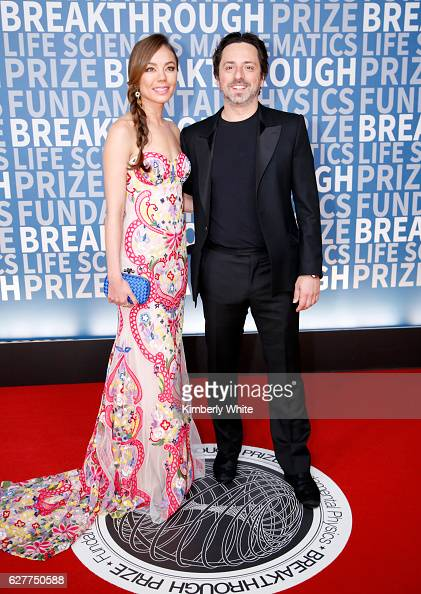 Breakthrough Prize Cofounder Sergey Brin and Nicole Shannahan attend the 2017 Breakthrough Prize at NASA Ames Research Center on December 4 2016 in...