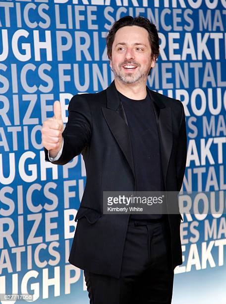 Breakthrough Prize Cofounder Sergey Brin attends the 2017 Breakthrough Prize at NASA Ames Research Center on December 4 2016 in Mountain View...