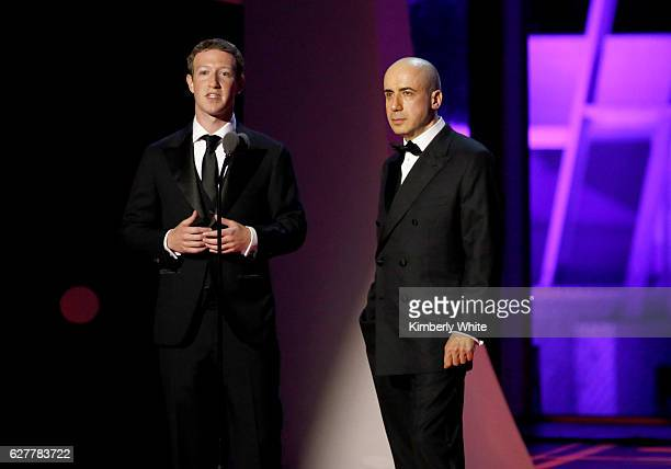 Breakthrough Prize CoFounders Mark Zuckerberg and Yuri Milner speak onstage during the 2017 Breakthrough Prize at NASA Ames Research Center on...